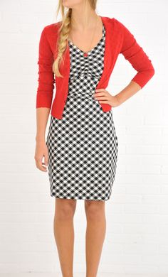 Vintage inspired King Louie dress with checks in black.