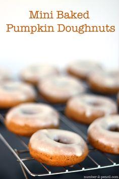 Mini Baked Pumpkin Doughnuts - easy pumpkin doughnuts with cream cheese glaze!