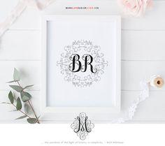 Wedding Monogram Design Duo Monogram Family Crest Monogram Design Calligraphy Personal Logo Monogram Name Art Printable Alphabet Wall Art