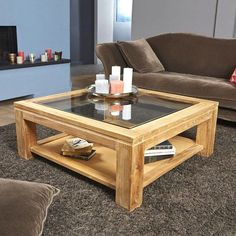 Functional and modern, this square coffee table in raw teak wood features a . Centre Table Design, Tea Table Design, Wood Table Design, Centre Table Living Room, Center Table, Wooden Living Room Furniture, Table Furniture, Diy Coffee Table, Decorating Coffee Tables
