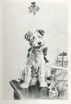 Smiling FOX TERRIER Under Mistletoe Vintage 1940s Dog Print Morgan Dennis Art Print 74.   via Etsy.