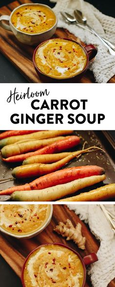 This Heirloom Carrot Ginger Soup recipe made from roasted heirloom carrots and freshly minced ginger makes a flavorful and healthy vegetarian soup recipe. Healthy Soup Vegetarian, Vegan Soup, Healthy Soup Recipes, Gourmet Recipes, Cooking Recipes, Vegetarian Recipes, Clean Eating Soup, Clean Eating Snacks, Ginger Soup Recipe