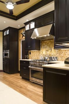 (paid link) Chocolate brown Paint Kitchen Cabinets. I in addition to in the same way as this colour ... #paintforkitchen #kitchenremodel Kitchen Sale, Kitchen Decor, Kitchen Ideas, James Madison, Brown Kitchens, Home Kitchens, Black Cabinets, Kitchen Cabinets, Kitchen Vent