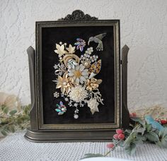 Vintage Jewelry Picture , Indoor Garden Jewelry Art , Home Decor Gift , Pearls Rhinestone Vintage Jewelry Collage Art by VintageRedo