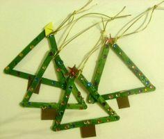 Home Decor Ideas: Popsicle stick christmas tree ornaments