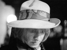 Brian Jones, by Michael Cooper. Nice hat, man. The Rolling Stones. #CrosseyedHeart #KeithRichards #TheRollingStones #RonnieWood #CharlieWatts #MickJagger #BrianJones #BillWyman