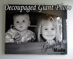 I love giant family photos hanging on walls. And although our bathroom update is meant to create a relaxing escape for me, I couldn't resist putting in a reminder of my sweet girls. All you need to create your own giant photo on canvas is a poster sized print of the photo, a canvas, some fabric strips, and mod podge. Yep, just another decoupage project.