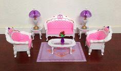 Barbie Size Dollhouse Furniture Living Room Grand Parlour Sofa SET Free Shippi   eBay