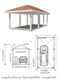 40 best wood carport images on pinterest carport garage for Hip roof carport plans