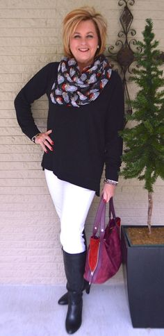 50 IS NOT OLD   CAN A SWEATSHIRT BE STYLISH   Black & White   Sweatshirt and Jeans   White Jeans   Fashion over 40 for the everyday woman