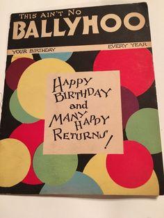 Unique Rare Vintage Happy Birthday Ballyhoo Card Designs By Doris