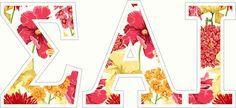 Sigma Alpha Iota Floral Letter Sticker - 2.5
