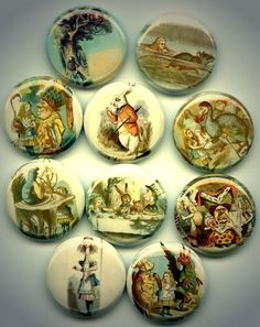 ALICE IN WONDERLAND 10 Pinback 1 Buttons Badges Pins by Yesware, $10.00
