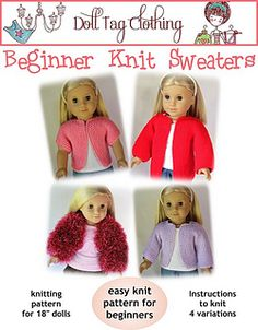 Teach your little girl to knit! Knitting pattern for beginners - Knit this Sweater for your 45cm (18') Soft body girl doll: