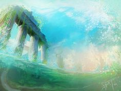 Card Art Commission for *GTHunt Greek ruins while partially being underwater! Ancient Ruins, Ancient Greece, Underwater Ruins, Digital Art Photography, Greek Alphabet, Pastel, Fantasy Inspiration, Animal Crossing, Art History