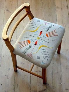"Have always envisioned applying my embroidery to furniture like this <3 Also love this blog post by Beci Orpin. If you haven't picked up her book yet, you need to! It's called ""Find and Keep"""