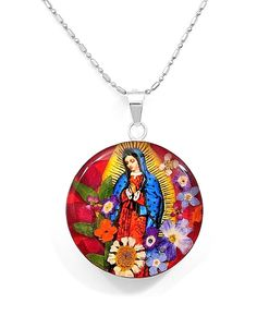 Natural Flowers Virgin of Guadalupe Pendant Medallion Medal Taxco Mexico #Handmade #VirginofGuadalupe