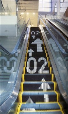 Wayfinding on an Escalator. Could apply to stairs & path ways as well.  Could include major brands / destinations.
