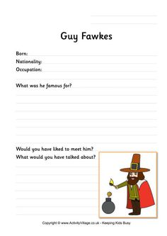 Kids will need to do a little research to answer the questions on this worksheet about Guy Fawkes. Learn all about the events behind Bonfire Night! Plot Activities, Activities For Kids, Bonfire Night Guy Fawkes, Bonfire Night Activities, Penny For The Guy, Primary Teaching, Primary Classroom, Classroom Ideas, History Guy