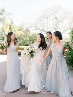 Gray bridesmaid dresses Grey Bridesmaids, Grey Bridesmaid Dresses, Wedding Dresses, Garden Wedding Inspiration, Spring Garden, Party Photos, Bridal Parties, Couples, Safety