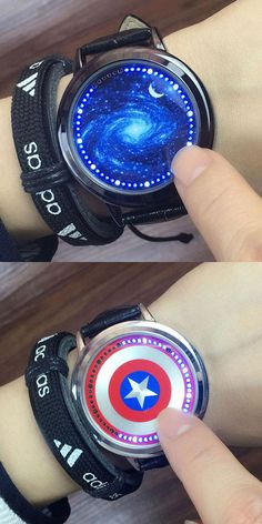 Fashion LED Light Touch-screen Control Dial Starry Sky Captain America Iron Man Couple Watch Notice: Gift the Nail bracelet. Simple Watches, Cute Watches, Retro Watches, Cheap Watches, Vintage Watches, Watches For Men, Women's Watches, Elegant Watches, Beautiful Watches