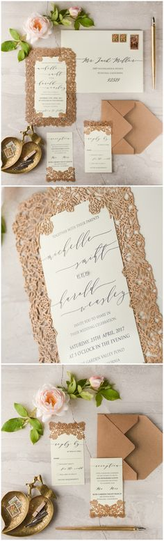 Laser cut lace elegant wedding invitation #wedding #weddingideas #lasercut #elegant #glamorous #nude #ecru
