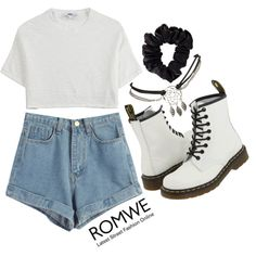 Denim Blue Shorts by ROMWE by patriciaalves-1 on Polyvore featuring Hope, Dr. Martens, Wet Seal, American Apparel, BackToSchool, romwe and emmastaggies