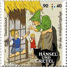 Briefmarke Hänsel und Gretel bei der Hexe