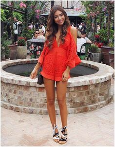 Sexy Women& Jumpsuits Rompers Kimono Sleeve V-Neck Cutout Floral Lace Alice McCall Keep Me There Playsuit Combishort Rompers Women, Jumpsuits For Women, Red Playsuit, Short Jumpsuit, Strapless Jumpsuit, Alice Mccall, Jumpsuit Outfit, Cute Summer Outfits, Summer Clothes