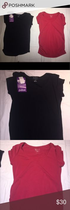Lot of 2 maternity bump start tops ruched large Lot of 2 maternity bump start tops in black and a burnt red color one nwt one nwot.  Ruched aides for that perfect fit and stretch in a size large BumpStart Tops Tunics