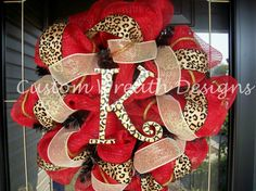 Deco Mesh Red with Leopard Wreath by lilmaddy12 on Etsy, $85.00.... Cute for the girl's house....