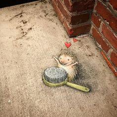 A porcupine love story. (artwork & : @davidzinn) #streetart