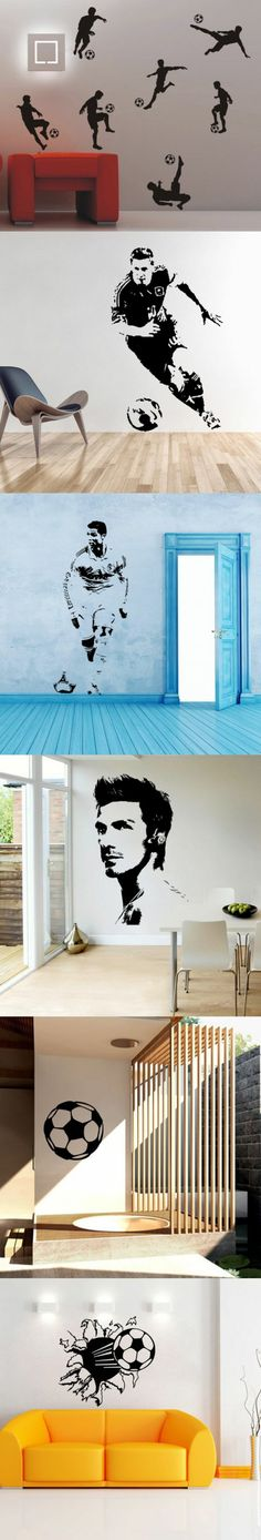 Soccer Football and Famous Soccer Players Wall Stickers Home Decor Wall Decal Fo. Soccer Football and Famous Soccer Players Wall Stickers Home Decor Wall Decal For Kids Room Sport B Boys Bedroom Decor, Bedroom Murals, Bedroom Themes, Boy Bedrooms, Bedroom Ideas, Boys Football Bedroom, Football Rooms, Kids Wall Decals, Wall Stickers Home Decor