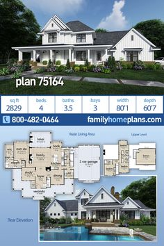 Modern Farmhouse Style House Plan 75164 with 4 Bed , 4 Bath , 3 Car Garage A bea… – Farmhouse Plans Farmhouse Floor Plans, Farmhouse Homes, Family House Plans, Dream House Plans, 3 Car Garage, Garage House, Modern Farmhouse Style, Country Farmhouse, Large Family Rooms