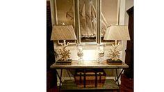 barclay butera | Barclay Butera coral lamps and console.
