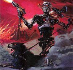 Terminator: All My Futures Past Art by Diego, Detail of comic cover. Astro Boy, Tmnt, Vintage Robots, Nerd, Arte Horror, Batman Vs Superman, Post Apocalypse, Star Wars Art, Star Trek