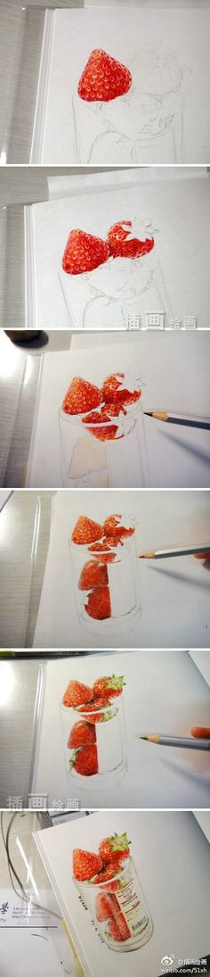 Drawing strawberries with colored pencils.