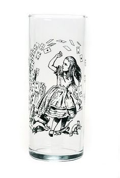 "Perfect for your next Mad Tea Party, these 11oz. tumblers practically scream DRINK ME! Printed at the front with Alice in Wonderland designs borrowed from the original John Tenniel illustrations; choose ""2 Playing Cards,"" ""Alice & Cards,"" ""Growing Alice"" or ""Unbirthday."" Or, better yet, collect all 4! Truly wonderful! Made in the USA. Dishwasher safe."