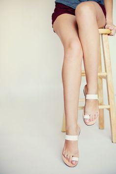Women Sandals Leather White Beach Handmade by NikolaSandals