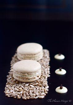 Sunflower Seed Macarons with Black Truffle Salted White Chocolate Ganache