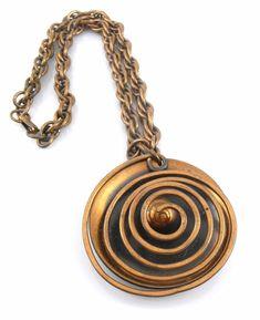 BIG Vintage 1950s 60s Handmade Copper Enamel Modernist Pendant with Chain Necklace /& Earrings SET