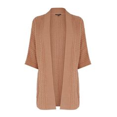 Warehouse Rib & Stitch Cardi ($42) ❤ liked on Polyvore featuring tops, cardigans, peach, ribbed top, ribbed cardigan, beige cardigan, relaxed fit tops and open cardigan