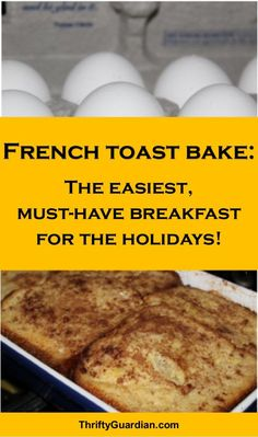 French toast bake, a quick and easy breakfast or brunch idea, great for holiday breakfast or making breakfast for company! Such an delicious recipe! Breakfast On A Budget, Father's Day Breakfast, Christmas Morning Breakfast, Breakfast For Kids, Breakfast Ideas, Christmas Brunch, Christmas Treats, Christmas Baking, Overnight French Toast