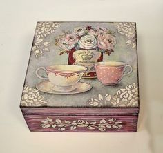 I will show you how to decoupage a lovely jars from. I used decoupage glue and paper napkins. Decoupage Vintage, Decoupage Art, Painted Boxes, Wooden Boxes, Hand Painted, Altered Boxes, Cigar Box Crafts, Diy And Crafts, Woodworking Crafts