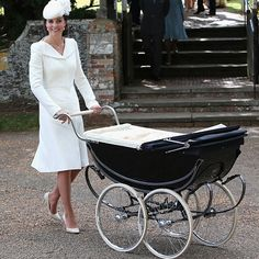 Royal Christening Style Roundup: All the Details on What Kate Middleton, Pippa Middleton & the Queen Wore on Charlotte's Big Day Catherine, Duchess of Cambridge, Kate Middleton Princesa Charlotte, Princesa Diana, Lady Diana, Kate Middleton Coat, Princesa Real, Look Star, Vintage Pram, Vintage Stroller, Estilo Real