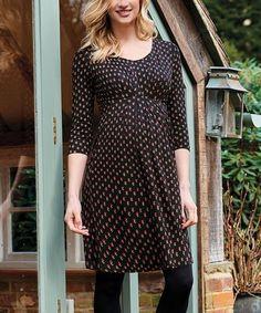 822488a5ef6 JoJo Maman Bébé Black Ditsy Pleat Nursing Maternity Tunic Dress