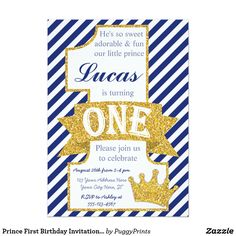 Shop Prince First Birthday Invitation with Envelopes created by PuggyPrints. One Year Birthday, 1st Boy Birthday, Boy Birthday Parties, Birthday Ideas, Birthday Gifts, Happy Birthday, Birthday Cakes, Little Prince Party, Prince Birthday Party