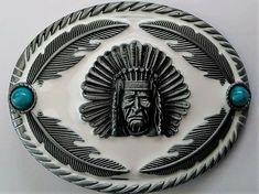 BC145  Boucle de ceinture Modèle Chef Indien Coloris Bronze