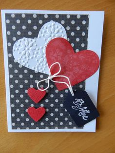 SU Heart Die Cuts Scrapbook Cards, Scrapbooking, St Patricks Day Cards, Card Making Designs, Valentine Greeting Cards, Embossed Cards, Valentine Day Crafts, Creative Cards, Anniversary Cards