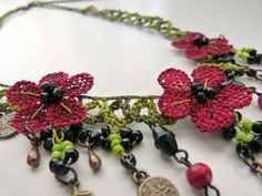 Needle lace necklace with beads and red flowers Free by MsPolite, $43.00